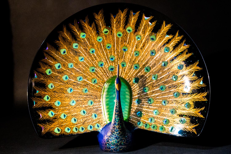 all lacquer core to surface shin shitsu peacock artwork