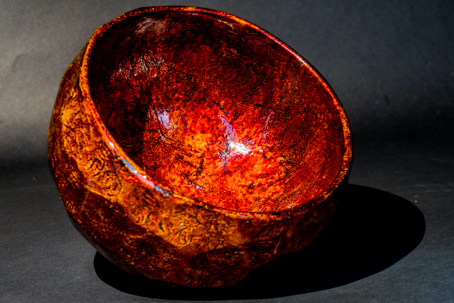 all lacquer core to surface artwork  green powdered tea bowl