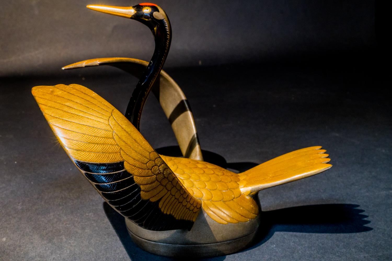 all lacquer core to surface artwork crane bird