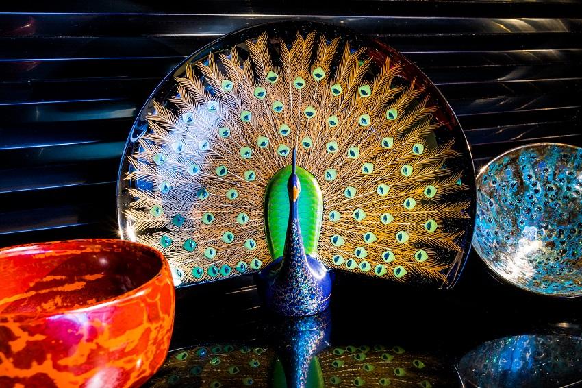 芯漆 孔雀 輪島 shinshitsu lacquer art bird wajima japan