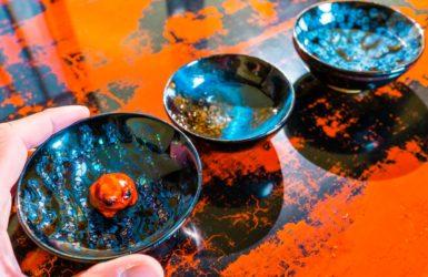 芯漆 蛙 ぐい吞み lacquer sake cup